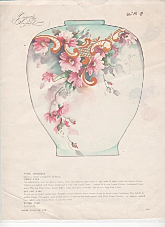Vintage - Winifred Brase - China Paint - Pink Daisi