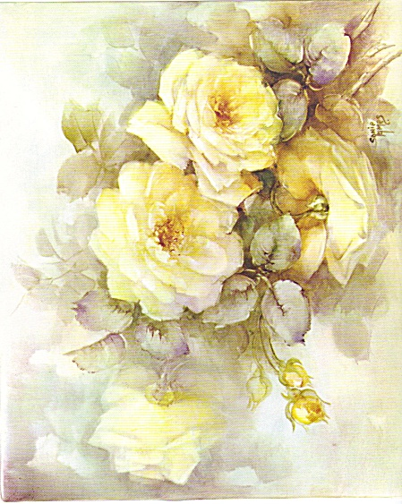 Yellow Roses - Study - Sonie Ames - Vintage 1964
