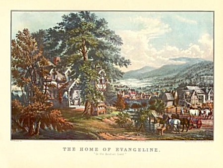 Currier And Ives- The Home Of Evangeline