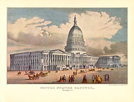 Currier And Ives Print Capitol Washington D