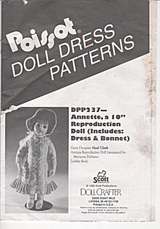 POISSOT(DPP237) DOLL CLOTHING PATTERN~10 INC (Image1)