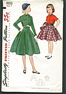 VINTAGE 1950s Girls 2 PC suit and Blouse MINT (Image1)