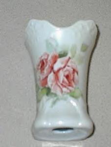 Hatpin Holder Porcelain Roses & Leaves