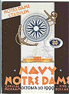 Notre Dame-navy Footbal L Game Guide 1999