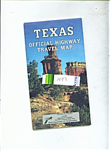Texas official highway Travel Map -1993 (Image1)