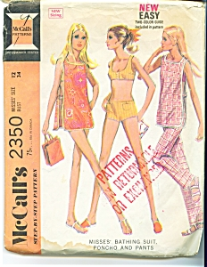 1970 McCall's Bathing Suit - Poncho ++ Ladies SZ 12 (Image1)