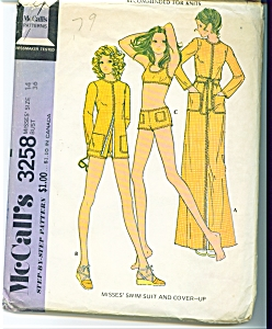 1972 McCall's Bathing Suit - Poncho ++ Misses SZ 14 (Image1)