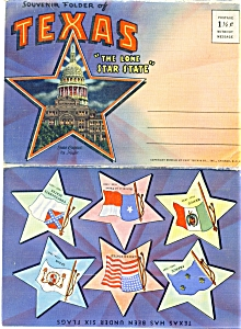 1952 TEXAS Souvenir Picture Folder Lithograph PC (Image1)