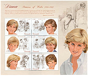 Princess Diana Wales GRENADA MINT Stamp Sheet 1997 (Image1)