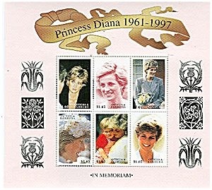 Princess Diana Wales ANTIGUA BARBUDA Mint Stamps Sheet (Image1)