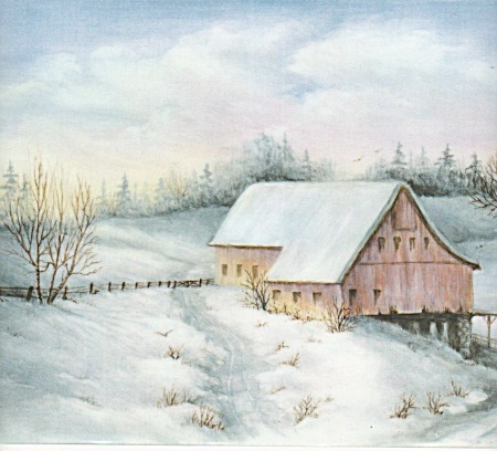 Onny Kinsey - China Porcelain - Snow Scene - Farm
