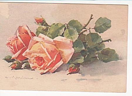 C.KLEIN~VINTAGE~ROSES~POST CARD~CIRCA 1910 (Image1)