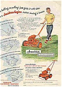 Jacobsen Power mower 1951Cute boy mowing (Image1)