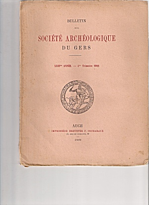 Societe Archeologique Du Gers -  4th trimestre 1922 (Image1)