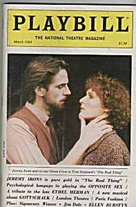 Playbill magazine- March 1984 - JEREMY IRONS  -GLENN CL (Image1)