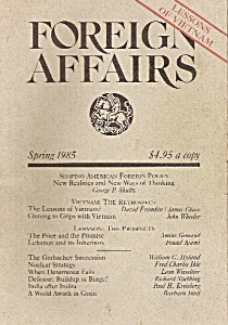 Foreign Affairs book/magazine-=  Spring 1985 (Image1)
