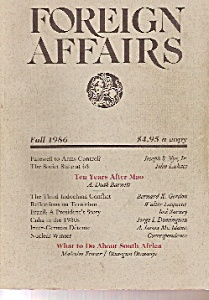 Foreign Affairs book/magazine   Fall 1986 (Image1)