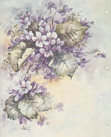 Vintage - Mary Patusky - Violets Study - China Pain