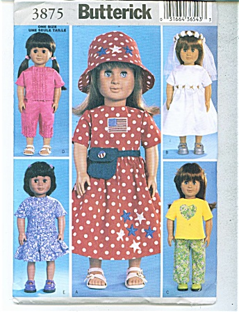 Butterick 18 Inch Doll Pattern 3875
