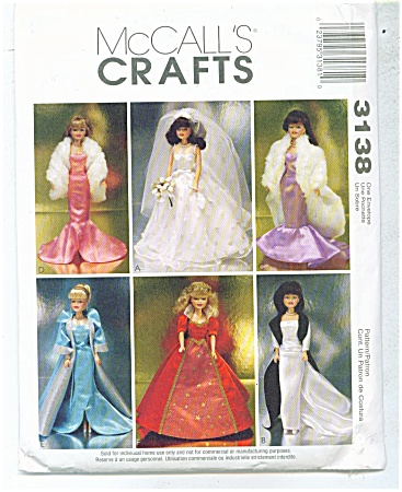 Mccalls 3138 Barbie - Glamour Gowns Bride - Oo P