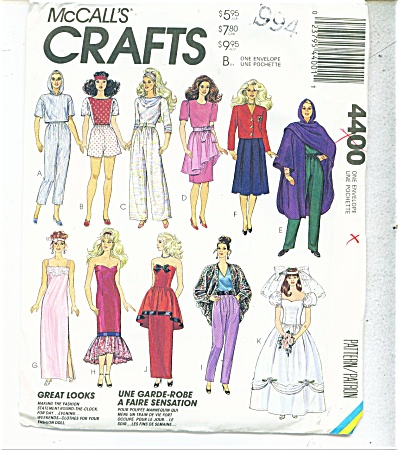 Mccall Pattern 4400 11 1/2 Inch Doll