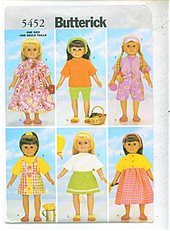 Doll Pattern Butterick 5452 18 In Doll Pat