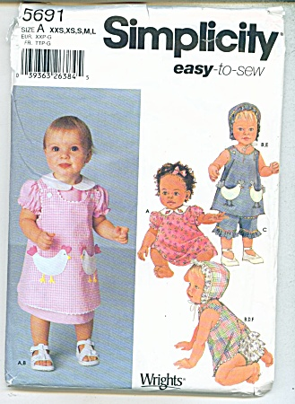 Simplicity Easy To Sew Baby Patterns 5691