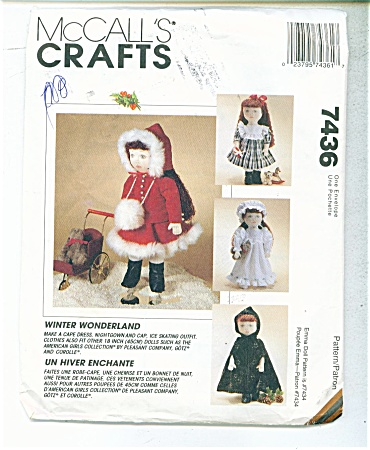 Doll Pattern Mccall 7436 18 In Doll