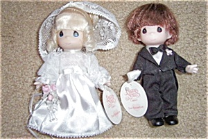 MWT Precious Moments Bride and Groom Dolls (Image1)