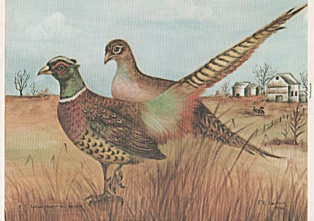 Vintage - F.l. Sartain - China Painting - Pheasants
