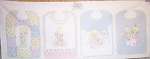 Click here to enlarge image and see more about item 080706: PRECIOUS MOMENTS BABY BIBS TO MAKE