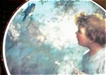 Click here to enlarge image and see more about item 091903BC: Victorian Child - Bluebird Porcelain Plate