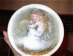 Click here to enlarge image and see more about item 091903LG: Little Girl - Kitty Porcelain Transfer Plate