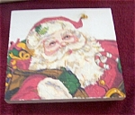 Click here to enlarge image and see more about item 111603SCW: Santa Claus Glittered Wood Trivet Stand CUTE