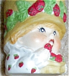 Click here to enlarge image and see more about item 122505STR2: STRAWBERRY GIRL CANDLE HOLDER