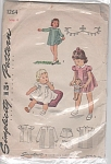 Click to view larger image of Vintage 40s Simplicity Pattern Girl Pinafore (Image1)
