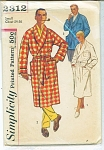 Click here to enlarge image and see more about item 2312: VINTAGE MENS ROBE ~JACKET PATTERN SZ SM