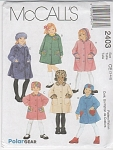 Click here to enlarge image and see more about item 2403-CE: GIRLS FLEECE WOOL COAT HAT HOOD PATTERN~SZ-CE