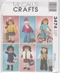 Click here to enlarge image and see more about item 3474: AMERICAN GIRL 18I DOLL PATTERN McCALL 3474