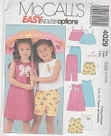 McCALL'S 4029~GIRLS~SUMMER WARDROBE~SZs 3-6