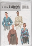 Click here to enlarge image and see more about item 4072B: BUTTERICK~B4072~Misses Tops~Belt~SZ L-XL~OOP