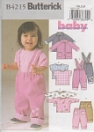 Click here to enlarge image and see more about item 4215: BUTTERICK~BABY'S OUTFITS~SZ NB-S-M~UNCUT