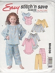 CHILDS EASY PAJAMAS NIGHTGOWN PATTERN M4636 s