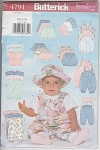 Click here to enlarge image and see more about item 4791A: INFANTS~11OUTFITS~BUTTERICK 4791A~SZ NB-S-M