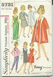 Click here to enlarge image and see more about item 5731: Barbie & Tressy Teen Model Doll Pattern 5731