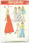 SIMPLICITY~6697~BARBIE WARDROBE~COPYRIGHT1974