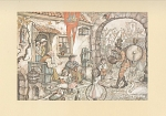 Click here to enlarge image and see more about item 7491A: VINTAGE~1972~ANTON PIECK~ONE MAN BAND PRINT
