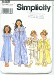 GIRL'S ROBE, NIGHTGOWN, PJ'S PATTERN #8488 SZ
