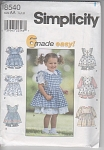 Click to view larger image of SIMPLICITY Girls Dress~Pinafore Panties SzAA (Image1)