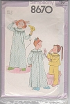 Click here to enlarge image and see more about item 8670: 1978 Vintage pattern NIGHTGOWN ROBE PAJAMAS